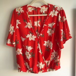 Sienna Sky Red Crop Top With White Tropical Floral